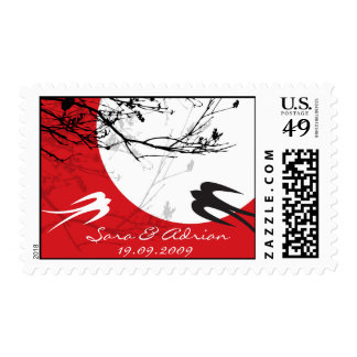 Oriental Swallows in Moonlight Chinese Wedding Postage