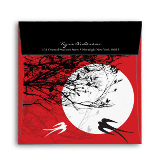 Oriental Swallows in Moonlight Custom Envelope