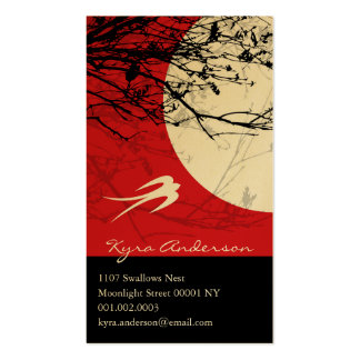 Oriental Swallows in Moonlight Custom Profile Card Business Card Templates