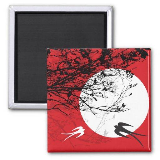 Oriental Swallows in Moonlight Magnet