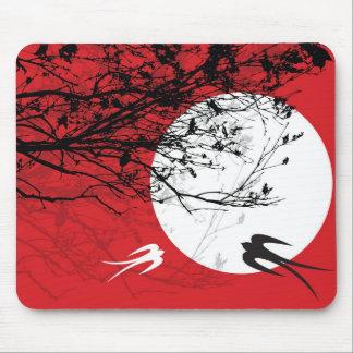 Oriental Swallows in Moonlight Mousepad