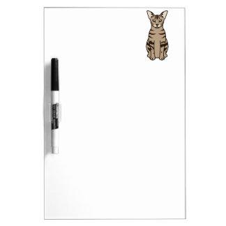 Oriental Tabby Cat Cartoon Dry Erase Board