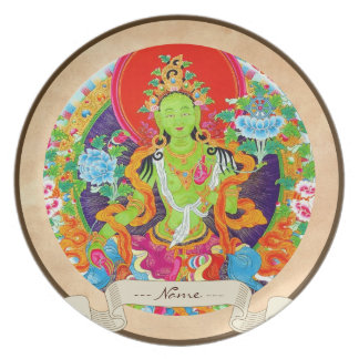 Oriental tibetan thangka god tattoo art Green Tara Melamine Plate