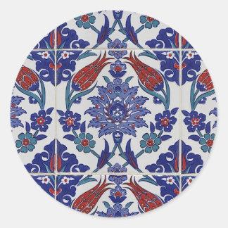oriental-tile-pattern round stickers