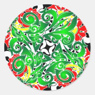 oriental vivid pattern classic round sticker