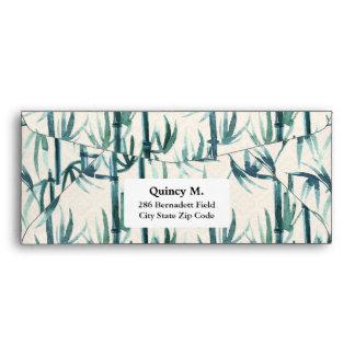 Oriental watercolor bamboo pattern envelope