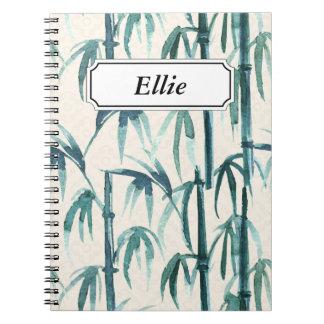 Oriental watercolor bamboo pattern spiral notebook