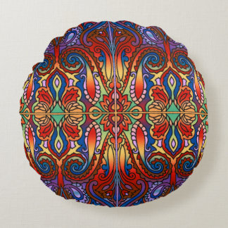 Oriental Watercolor Pattern I + your ideas Round Pillow