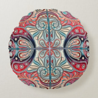 Oriental Watercolor Pattern II + your ideas Round Pillow