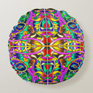 Oriental Watercolor Pattern III + your ideas Round Pillow