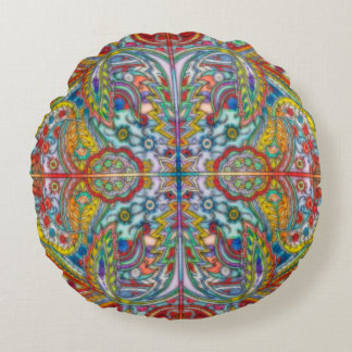 Oriental Watercolor Pattern IV + your ideas Round Pillow
