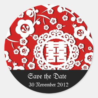 Oriental wedding invitation RSVP card Classic Round Sticker