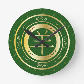 Oriental Year of the Goat Sheep Green and Gold Round Clock