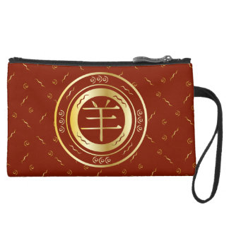 Oriental Year of the Goat Sheep Red and Gold Wristlet Purse