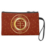 Oriental Year of the Goat Sheep Red and Gold Suede Wristlet