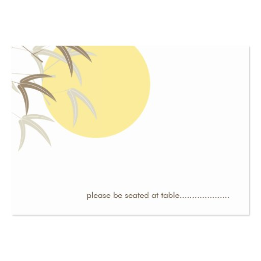Oriental Yellow Sunrise Bamboo Guest Place Card Business Card Templates