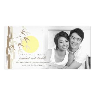 Oriental Yellow Sunrise Bamboo Zen Save The Date Card