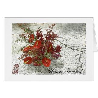 Oriental Zen Red Anthuriums Bouquet All-Occasion Cards