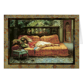 Orientalist Romantic Dreaming Card Blank