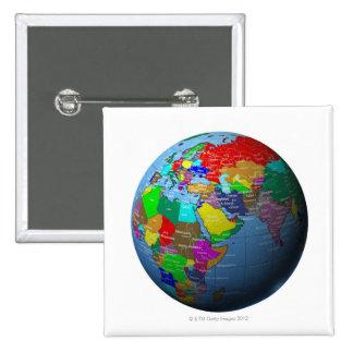 Oriente Medio en el globo Pin Cuadrada 5 Cm