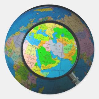 Oriente Medio en foco Pegatina Redonda