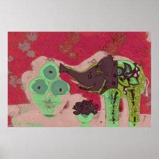 Orig. Foto/elefante y manzanas decorativos/rojo y Póster
