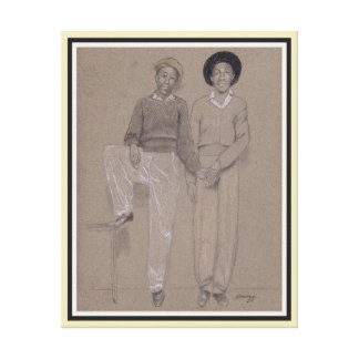 Orig. Painting on Canvas, 2 Young Black Men in '42 Canvas Print