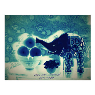 Orig. Photo--Blue Decorative Elephant & Apples Postcard