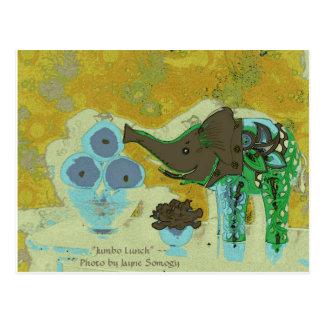 Orig. Photo--Decorative Elephant, Apples on Gold Postcard