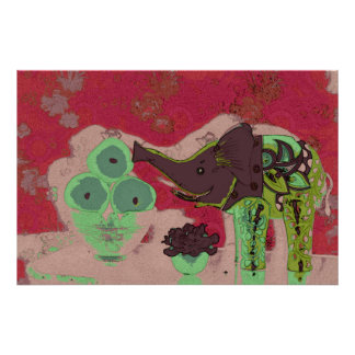 Orig. Photo/Decorative Elephant & Apples/Red & Grn Poster