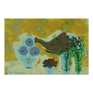 Orig. Photo--Decorative Elephant/Gold - Blue Poster