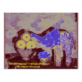 Orig. Photo--Elephant and Apples in Blue & Gold Postcard