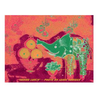 Orig. Photo--Green Elephant on Orange Background Postcard