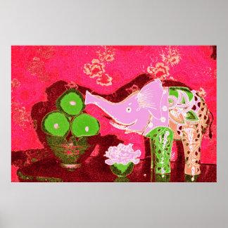 Orig. Photo--Pink Elephant Still Life w/Apples Poster