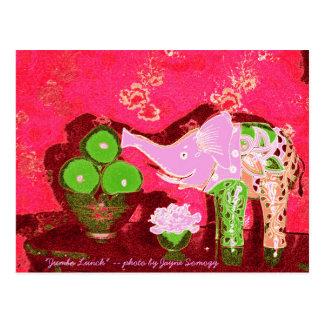 Orig. Photo--Pink Elephant w/Green Apples Postcard