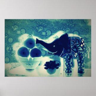 Orig. Photo Poster--decorative Elephant/Dk. Blue Poster