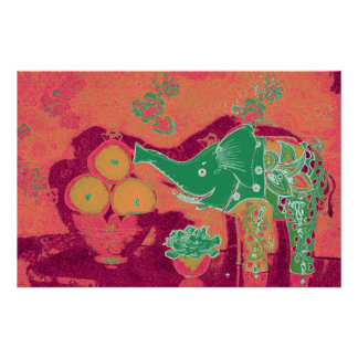 Orig. Photo Poster--Still Life w/Elephant, Apples Poster
