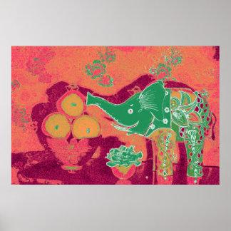 Orig. Photo Poster--Still Life w/Elephant, Apples Poster