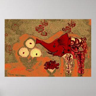 Orig. Photo--Red Patterned Elephant/Orange Bkgrnd Poster