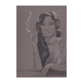Orig. Pintura en la lona, actriz china Gong Li Impresión De Lienzo