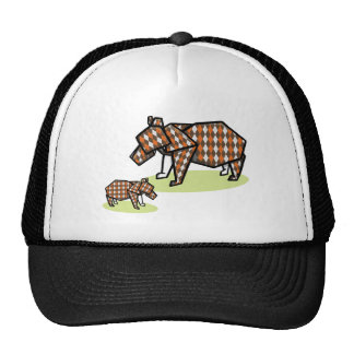 Origami Bears Made With Argylr Patterned Paper Trucker Hat