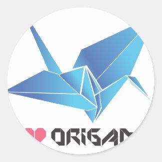 origami bird classic round sticker