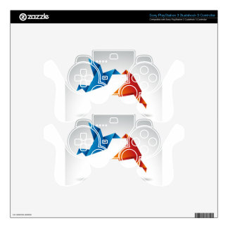 Origami birds design skins for PS3 controllers