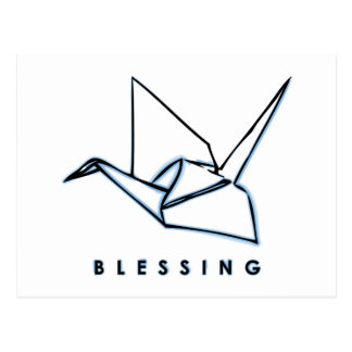 Origami Blessing Paper Crane Postcard