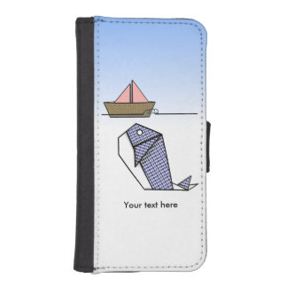 Origami Blue Whale And Paper Boat iPhone SE/5/5s Wallet