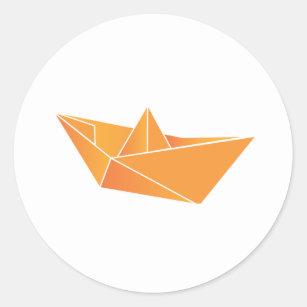 Origami Boat Classic Round Sticker