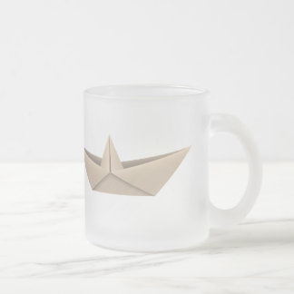 Origami Boat Frosted Glass Coffee Mug