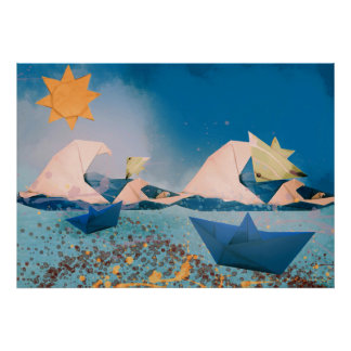 Origami Boats & Fishes Poster