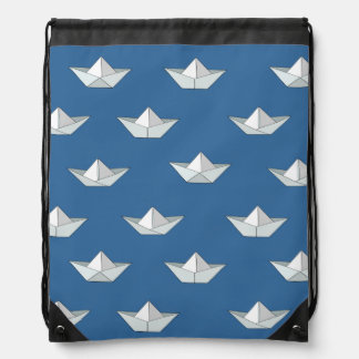 Origami Boats On The Water Pattern Drawstring Backpack