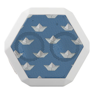 Origami Boats On The Water Pattern White Bluetooth Speaker